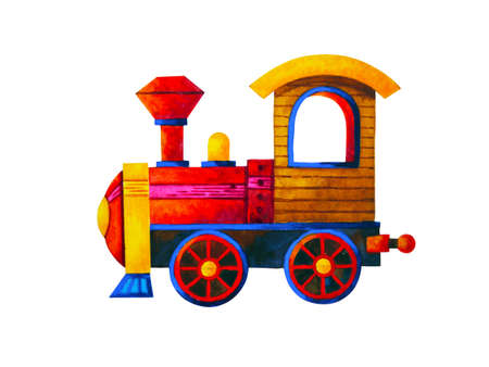 red train retro cartoon watercolor painting illustration design