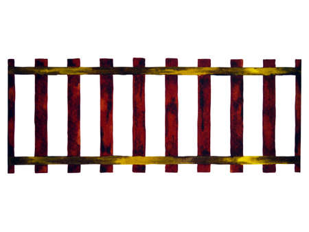 train railway transport, wooden stair brown watercolor painting illustration design drawing Standard-Bild