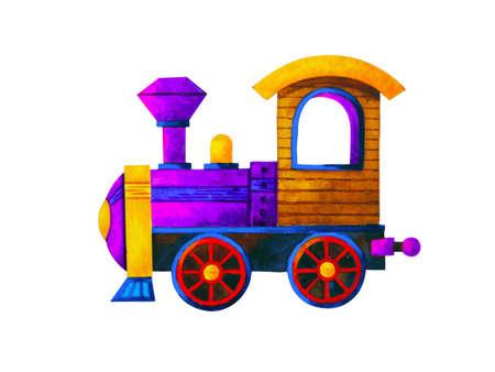 violet train retro cartoon watercolor painting illustration design