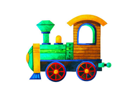 green train retro cartoon watercolor painting illustration design