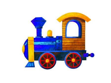 blue train retro cartoon watercolor painting illustration design