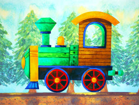 green train retro cartoon watercolor painting travel in christmas pine tree forest illustration design hand drawing