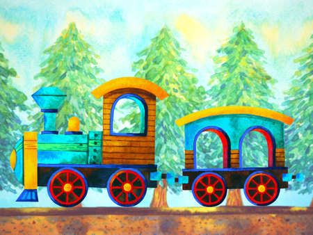 blue train retro cartoon  painting travel in christmas pine tree forest illustration design hand drawing