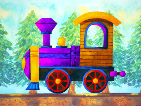 violet train retro cartoon watercolor painting travel in christmas pine tree forest illustration design hand drawing