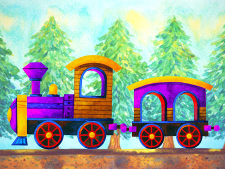 violet train retro cartoon  painting travel in christmas pine tree forest illustration design hand drawing