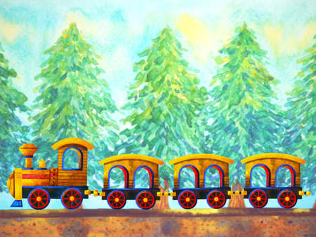 yellow train retro cartoon watercolor painting travel in christmas pine tree forest illustration design hand drawing 免版税图像