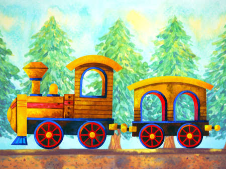 yellow train retro cartoon  painting travel in christmas pine tree forest illustration design hand drawing