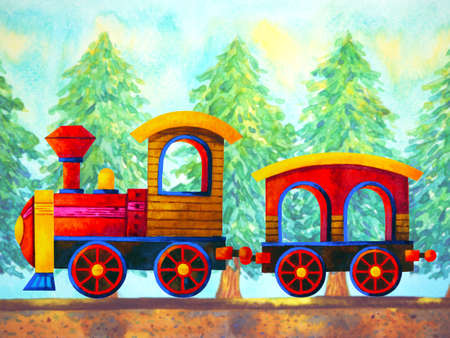 red train retro cartoon  painting travel in christmas pine tree forest illustration design hand drawing
