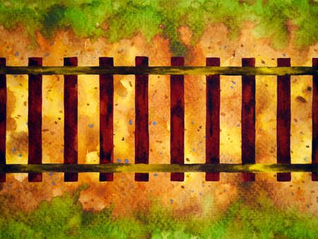 train railway transport watercolor painting top view illustration design drawing