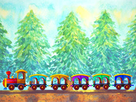 colorful train retro cartoon watercolor painting travel in christmas pine tree forest illustration design hand drawing
