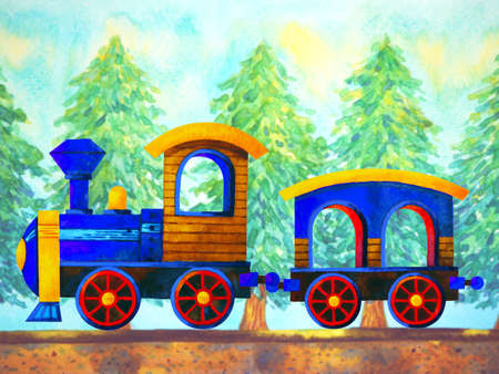 blue train retro cartoon watercolor painting travel in christmas pine tree forest illustration design hand drawing