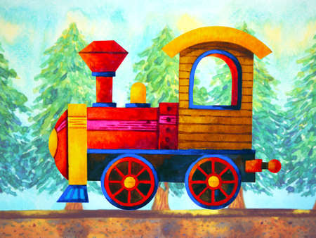 red train retro cartoon watercolor painting travel in christmas pine tree forest illustration design hand drawing 免版税图像