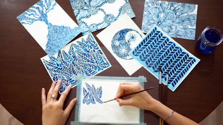 watercolor painting art abstract blue white top view illustration studio workshop artist selected focus