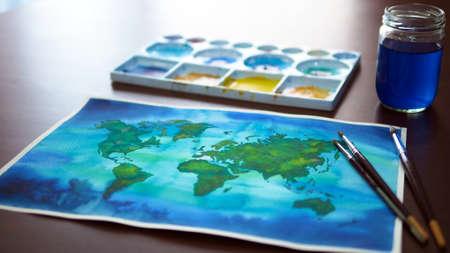 world map watercolor painting art illustration design hand drawing selected focus Standard-Bild