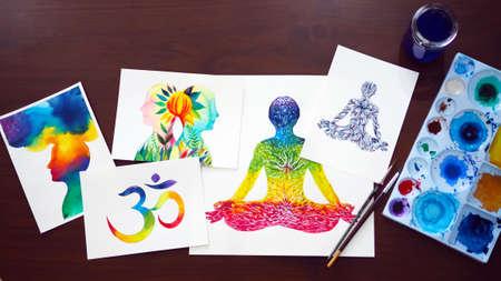 chakra human lotus pose yoga abstract mind mental power watercolor painting illustration design hand drawing selected focus
