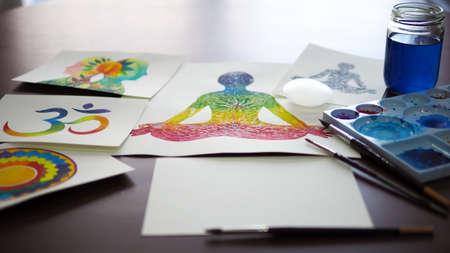 chakra human lotus pose yoga abstract mind mental selenite stone power watercolor painting illustration design hand drawing selected focus Standard-Bild