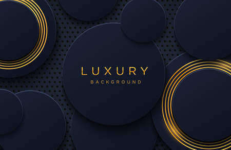 Luxury elegant background with shiny gold lines pattern isolated on black. Abstract realistic papercut background. Elegant Cover template Vettoriali