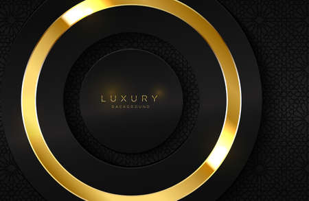 Realistic 3d background with shiny gold ring shape. Vector golden circle shape on black surface Graphic design element. Luxurious Elegant template Vectores