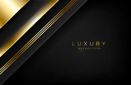 Abstract layered background in gold and luxury style. Minimalist black and gold design for background, cover, or card