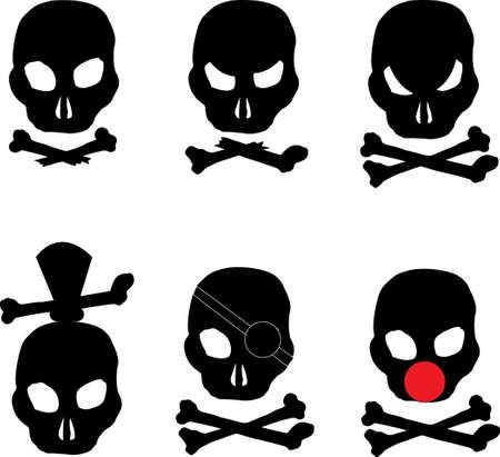 verschiedene Arten von Piraten-Totenkopf mit gekreuzten Knochen
