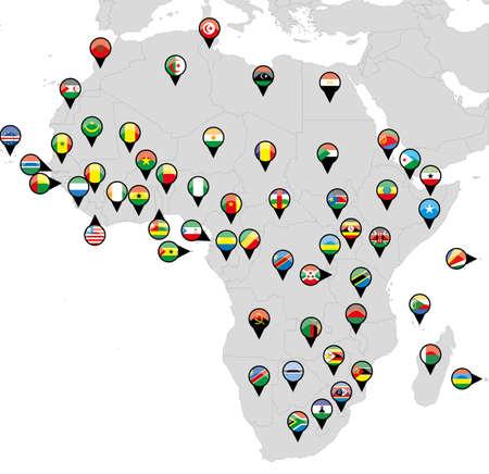 Gemerkt L�nder Fahnen auf der Karte von Afrika