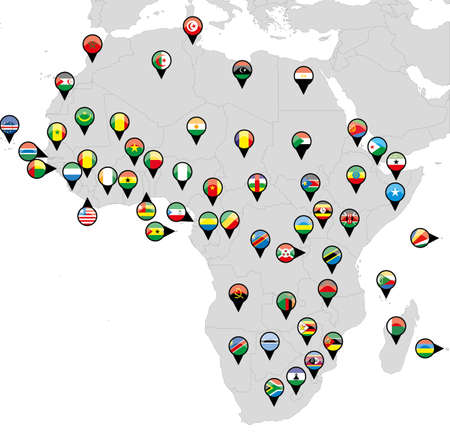 Pinned countries flags on map of Africa  Vector