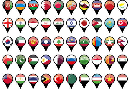 Flags of Asian countries like pins