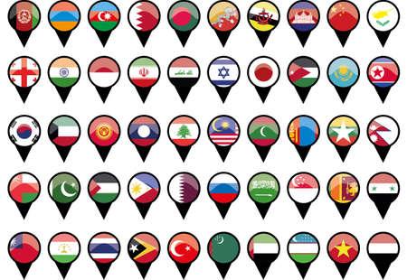 Flags of asiatischen L�ndern wie Stifte