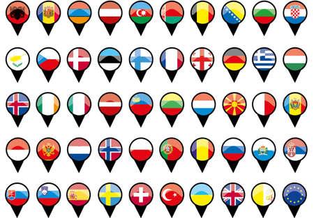 Flaggen der europ�ischen L�nder wie Stifte