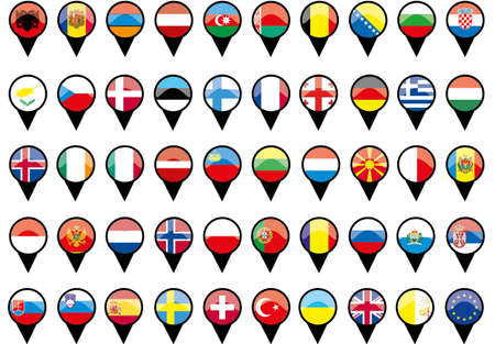 Flags of European countries like pins  Illustration