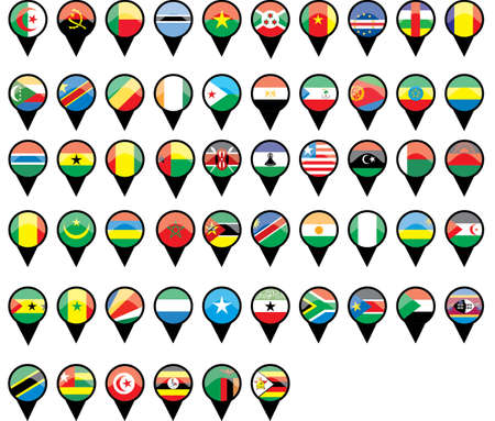 Flags of Asian countries like pins  Illustration