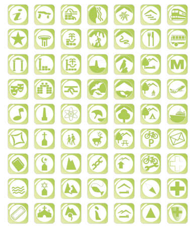 Map green icon set Stock Vector - 16930334