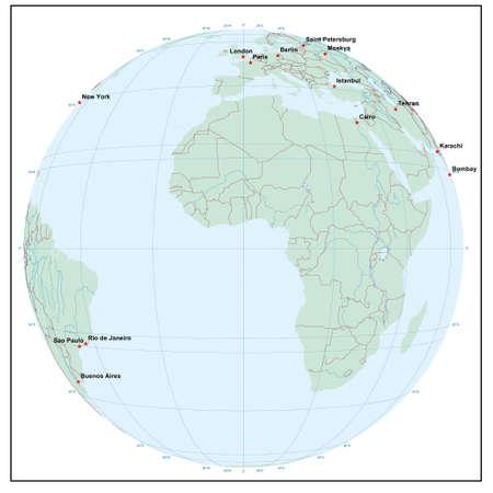 Welt sphere0 - jedes Land ist separat und editierbare Illustration