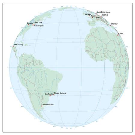 Welt sphereW30 - jedes Land ist separat und editierbare Illustration