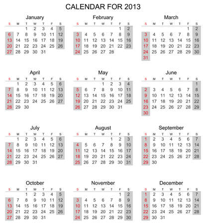 Simple 2013 calendar, start with Sunday  Stock Vector - 17083976