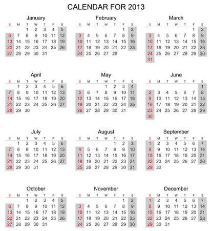 Simple 2013 calendar, start with Sunday