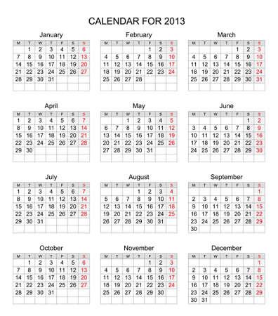 Einfache 2013 Kalender mit Montag beginnen