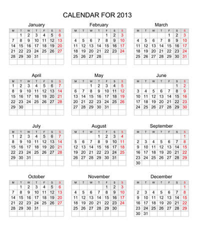 Simple 2013 calendar, start with Monday Stock Vector - 17083974