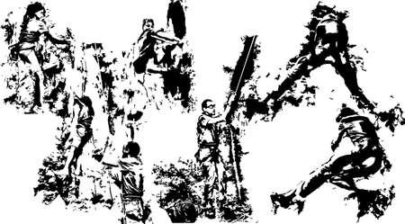 Climbing silhouettes Stock Vector - 17083969