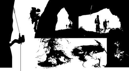 H�hlenforschung Silhouetten Illustration