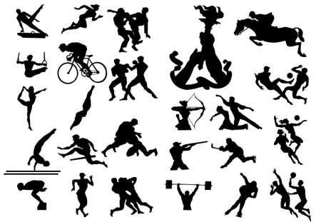 nataci�n sincronizada: deportes siluetas Vectores