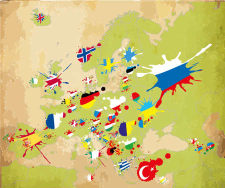 serbia flag: Spot Europe flags Illustration