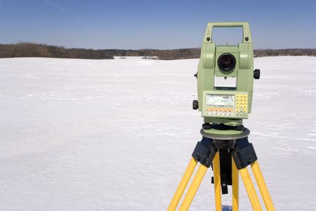 Winter Land Surveying Stock Photo - 3789815