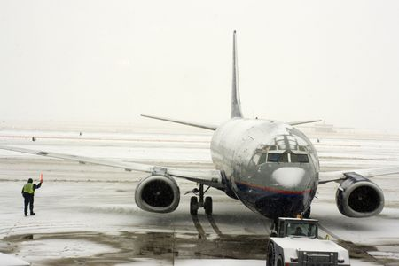 Snow Storm on the airport Stock Photo