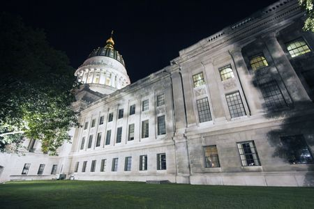 night time: Charleston, West Virginia - State Capitol night time. Stock Photo