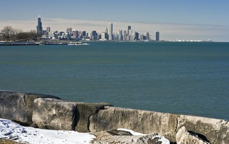 Distant View of Downtown Chicago, winter time. photo