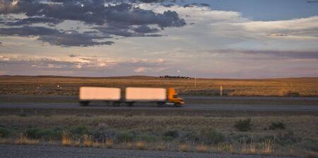 oversize: Blurred Semi Truck in Idaho.