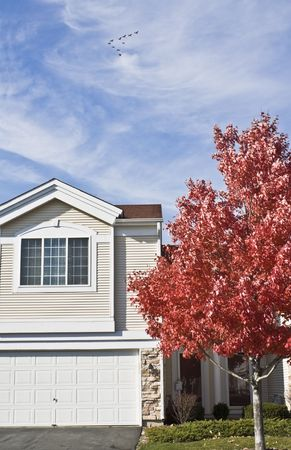 front elevation: Colorful Autumn in Suburbs - Chicagoland. Stock Photo