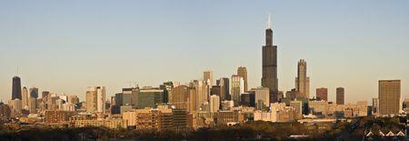 Last rays of sun in Chicago - panorama. photo