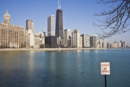 No Swimming Sign in Chicago Stock Photo - 3945589